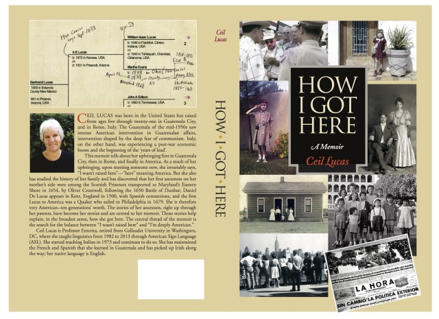 "This is the front and back of Ceil Lucas's Memoir ""How I Got Here"""